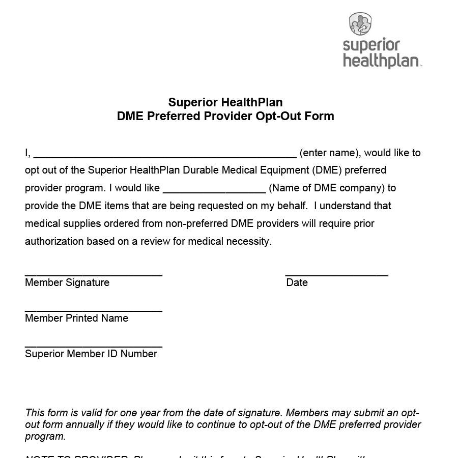 Superior-Healthplan Form